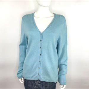 Ann Taylor Cashmere Light Blue V-Neck Cardigan